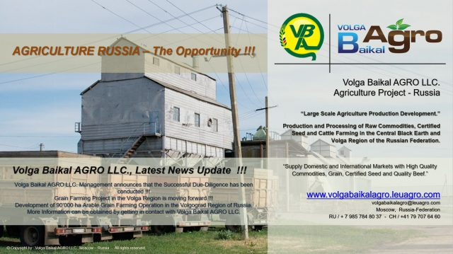 Volga Baikal AGRO LLC. News Update on Successful Project Due-Diligence !!!
